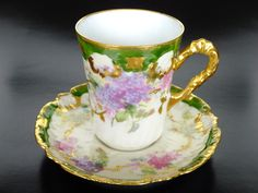 Porcelain cup and saucer set by Lewis Strauss & Sons, Limoges, Frace 1890-1920