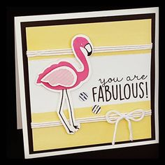I've got a flock of #tickledpink flamingos and here is the first card I made with one. Not sure what I'll do with the rest, but I'm ready should the need arise for a random flamingo! #CTMH