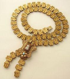 antique victorian book chain necklace