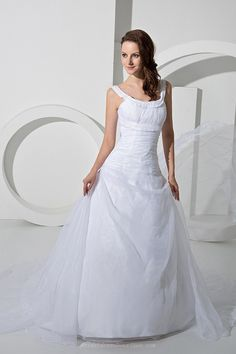 Beautiful A-line Dual Straps Open Back Wedding Dress With Train