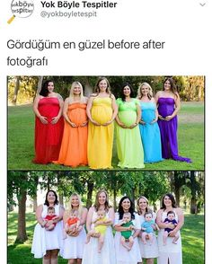 Pregnant bridesmaid bumps to babies. What a colorful picture! Once all the babies are born the woman are all dressed in white. How clever. Cute too! Colorful Pictures, Baby Pictures, Beautiful Pictures, Funny Pictures, Pregnant Bridesmaid, Best Friend Goals, Rainbow Baby, Cute Babies, Maternity