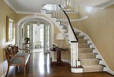 Home-interior : Sweet Greek Revival Home Interiors Designs ~ HeimDecor Staircase Landing, Curved Staircase, Grand Staircase, Staircase Design, Spiral Staircases, Staircase Ideas, Georgian Interiors, Georgian Homes, Painting Wood White