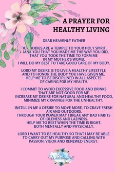 Be encouraged to take good care of the body God gave you. Healing Scriptures, Prayer Scriptures, Bible Prayers, Faith Prayer, Catholic Prayers, God Prayer, Prayer Quotes, Spiritual Quotes, Faith Quotes