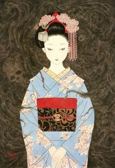 """Gion Geisha"" by Takato Yamamoto, 2010 Más Art Geisha, Geisha Kunst, Geisha Drawing, Japan Illustration, Yamamoto, Ero Guro, Art Chinois, Art Asiatique, Suzuki Swift"