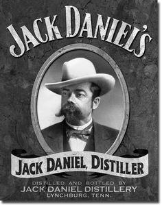 Jack Daniel, the founder of the famous Whiskey brand Jack Daniel's, had a giant moustache. And Jack Daniel's has a new whiskey flavour, one with honey. Coca Cola Vintage, Vintage Tin Signs, Vintage Labels, Vintage Ads, Vintage Posters, Antique Signs, Antique Metal, Vintage Decor, Festa Jack Daniels