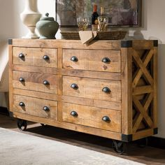 Features:  -Natural finished server.  -Antonelli collection.  Product Type: -Credenza.  Top Finish: -Natural.  Base Material: -Wood.  Top Material: -Wood. Dimensions:  Overall Height - Top to Bottom: