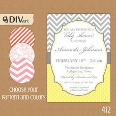 "PRINTABLE 5x7"" Baby Shower Invite, Bridal Shower Invitation, Engagement Party Invitation - grey, yellow - chevron, polka dots by DIVart on Etsy, $12.00"