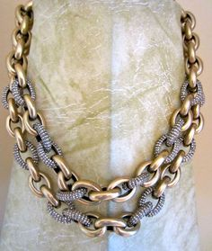 Double Row Pave Chain in Ox Gold & Crystal Links Necklace  - J.Crew