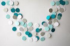Teal white aqua and gray paper garland, Heart garland, Wedding decoration, bridal shower, Birthday party decor, Paper garland, K-C-0061