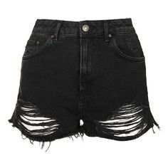 Women's Topshop Ripped High Rise Denim Shorts ($35) ❤ liked on Polyvore featuring shorts, bottoms, pants, topshop, jean shorts, distressed jean shorts, denim cut-off shorts, high-waisted denim shorts and destroyed denim shorts
