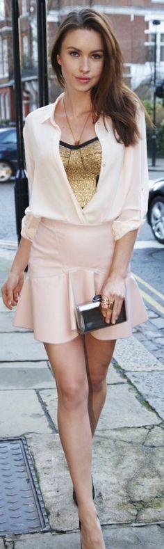 Zara Dusty Pink High Waisted Ruffle Hem Skirt