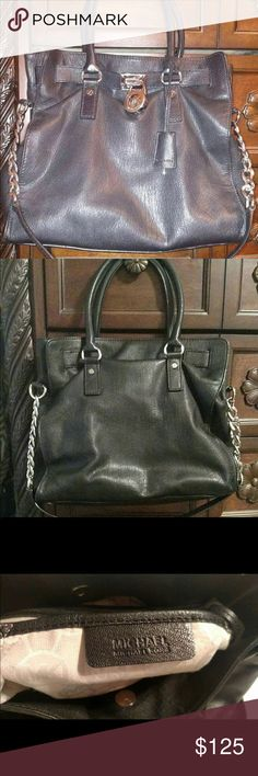 Michael Kors Hamilton Black Leather Tote Excellent gentle used condition. Thick genuine soft leather. Retail was $358.00 plus tax. Inside has  only a few blemishes as shown in photo. Smoke free home. Michael Kors Bags Totes