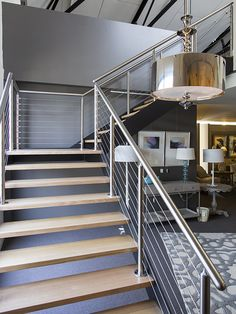 Cromwell Interior Design | Stair | Industrial | Staircase | Steel | Stainless Steel | Wires | Timber | Victorian Ash | Architecture | Melbourne