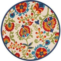 Aloha Multicolor Round Indoor-outdoor Area Rug – Nourison - Outdoor Rugs On Deck Coastal Area Rugs, Floral Area Rugs, Plush Pattern, Shades Of Gold, Round Area Rugs, Indoor Outdoor Area Rugs, Floral Motif, Floral Design, Power Loom
