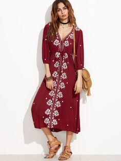 f08087f4f053 Shop Drawstring Waist Embroidered Peasant Dress online. SheIn offers  Drawstring Waist Embroidered Peasant Dress &