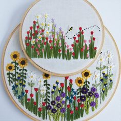 Wildflower Hand Embroidery Hoop Art: Custom Gift by KnottyDickens