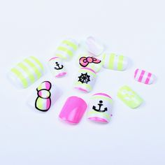ECBASKET 24 Pcs Colorful Ship Anchor Steering Wheel Bowtie Pre-designed Full Nail Art Tips *** Click on the image for additional details.