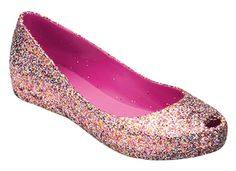 These big girl glitter jelly shoes make me want to do Rockette kicks.  I love them!  They come in a pretty purple, too.