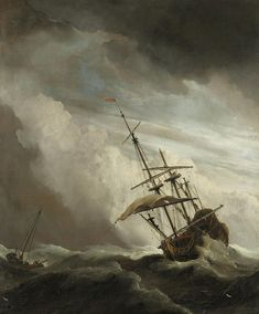 A Ship On The High Seas Caught By A Squall by Willem van de Velde the Younger