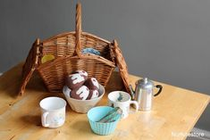 preschool pretend play discovery basket---use the tea party idea for september 16 and math one for september