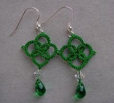 Emerald Green Tatted earrings lace jewelry tatting earrings
