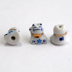 6 Maneki Neko Ceramic Porcelain Lucky Cat Beads Charm - Feng Shui - Right Hand Up - Welcome via Etsy