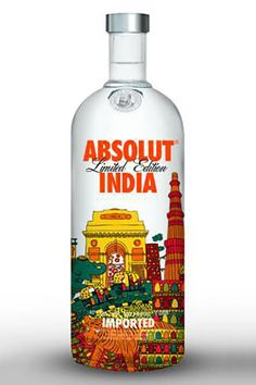 Absolut just release a new city/country bottle: Absolut India. Available now in India/Asia It is Mango and Pepper flavored vodka, and it's designed by the artist Shaheen Baig. It's a pa…