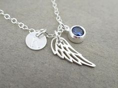 Angel Wing Necklace with Birthstone Personalized Silver Wing