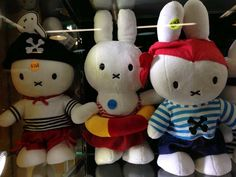 Miffy stuffed toys in Hong Kong, China! Even pirate miffys! More at http://www.lacarmina.com/blog/2014/11/panda-bears-exhibition-pmq-hong-kong/  pirate miffy, kawaii