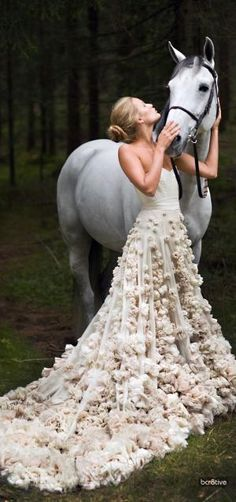 fairy tale princess wedding gown and her horse
