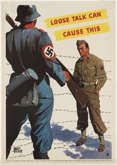 """""""Loose Talk Can Cause This"""", by Adolph Treidler, a World War II warning poster"""