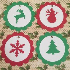 25 Tags Scallop Gift Tags green and red christmas