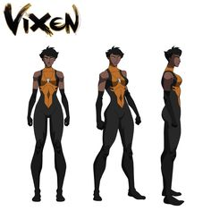Vixen character design - voiced by the incredible Gina Torres! (who is apparently leaving Suits because she hates me) DC Superhero Characters, Dc Comics Characters, Dc Comics Art, Comics Girls, Marvel Dc Comics, Female Characters, Vixen Dc Comics, Female Character Design, Character Model Sheet
