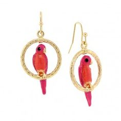 2028 Whimsy Coral Pink Parrot Earrings