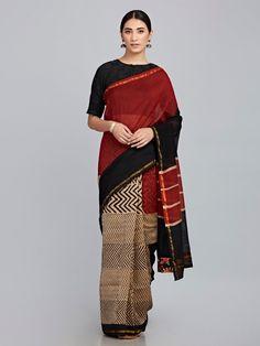 Maroon Black Hand Block Printed Chanderi Silk Saree Chanderi Silk Saree, Ikkat Saree, Silk Sarees, Saris, Cotton Saree Designs, Saree Blouse Designs, Stylish Sarees, Saree Collection, Red Stripes
