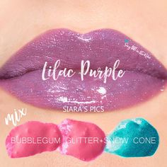 "Learn to mix it up. Use LipSense Mixology to create this ""Lilac Purple"" LipColor by mixing LE BubbleGum Glitter & LE Snow Cone.  #lipsense #mixitup"