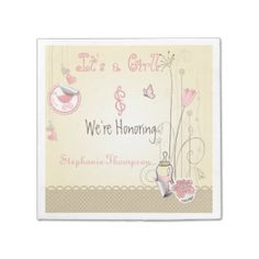 Whimsical Flowers Girl Baby Shower Party Napkin Disposable Napkin
