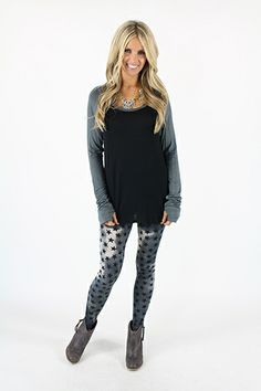 Lime Lush Boutique - Black and Charcoal Two Tone Knit Long Sleeve Top with Thumb Holes, $34.99 (http://www.limelush.com/black-and-charcoal-two-tone-knit-long-sleeve-top-with-thumb-holes/)