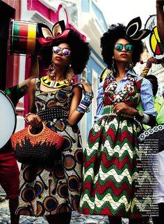 """Brazilian twins Suzane & Suzana Massena for Vogue Brazil February 2013. """"Carmen Miranda Reloaded"""" Ph.: Giampaolo Sgura Styling: Anna Dello Russo Hair: Andrew M. Guida Make-Up: Jessica Nedza"""