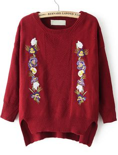 Red Long Sleeve Embroidered Knit Sweater - Sheinside.com