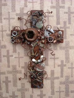Rustic Wall Cross Wire Wrapped with Rusty Nuts and Bolts For Your Wall.