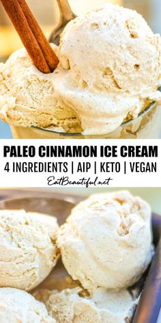 Paleo Cinnamon Ice Cream can be made dairy-free or with heavy cream. For Keto, AIP, GAPS & Vegan, serve with pie or on its own, summer, fall & year round. A delicious and versatile flavor!   Eat Beautiful    #icecream #cinnamon #keto #paleo #aip #vegan Köstliche Desserts, Gluten Free Desserts, Dairy Free Recipes, Delicious Desserts, Yummy Food, Vegan Recipes, Paleo Dessert, Best Dessert Recipes, Whole Food Recipes