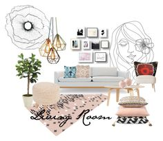 """Living Room"" by rachel10889 ❤ liked on Polyvore featuring interior, interiors, interior design, home, home decor, interior decorating, PBteen, Rove Concepts, Lee Jofa and Distinctive Designs"
