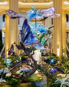 Butterflies and Bearded Irises Enchant Passersby in the Waterfall Atrium and Gardens of The Palazzo