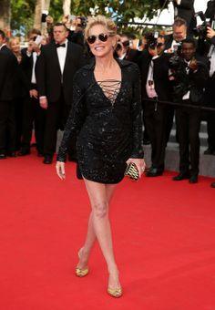 Sharon Stone en robe Emilio Pucci et pochette Salvatore Ferragamo  Festival de cannes 2014