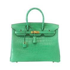 HERMES BIRKIN 35 Bag Matte Alligator CACTUS Gold Hardware  | From a collection of rare vintage top-handle-bags at https://www.1stdibs.com/fashion/handbags-purses-bags/top-handle-bags/