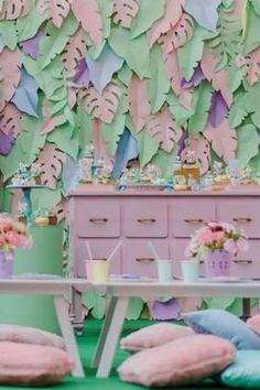 Take a look at this amazing girl dino birthday party! The table settings are so pretty! See more party ideas and share yours at CatchMyParty.com #catchmyparty #partyideas #dinosaur #dinosaurparty #girlbirthdayparty #tablesettings