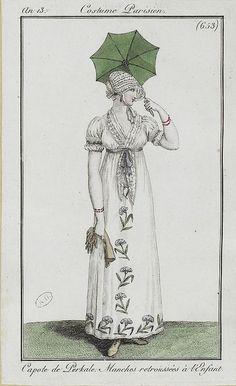 1804-1805 Capote de Perkale, Manches retroussées á l'Enfant. An 13, Costume Parisien (653)