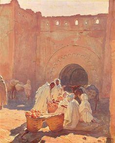 Marchands d'oranges à Marrakech by Adam Styka