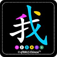Intersecting parts of Chinese character wo